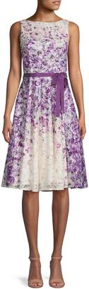 Gabby Skye Tied Floral Lace Fit--Flare Dress