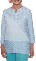 Alfred Dunner Bonita Springs 3/4 Sleeve Crew Neck T-Shirt-Womens