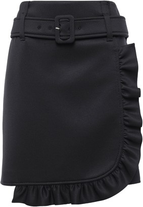 Prada Belted Ruffled Tech-jersey Mini Skirt