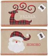 Mud Pie Deck the Halls Collection Tartan Plaid Santa and Reindeer Pillow Wraps