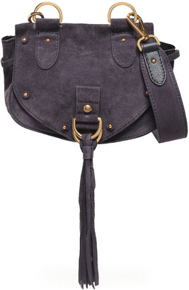 See by Chloe Collins Small Tasseled Suede And Textured-leather Shoulder Bag