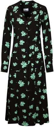 Ganni Floral Print Crepe Shirt Dress