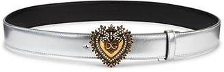 Dolce & Gabbana Devotion Heart Buckle Metallic Belt
