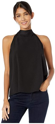 Kensie Smooth Stretch Crepe Tie Back Sleeveless Top KSNK4836 (Black) Women's Clothing