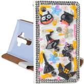 For Hallowmas Theme Phone Case,Yaheeda 3D Handmade Stones Cat Demon Haunted House Design PU Leather Cellphone Cover