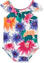 Old Navy Floral Flutter-Sleeve Swimsuit for Baby