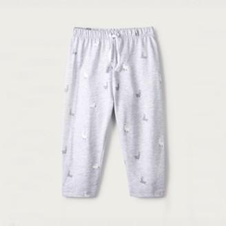 The White Company Llama-Print Leggings, Grey, 0-3mths