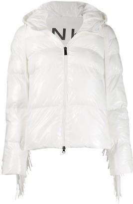 Pinko fringed trim puffer jacket