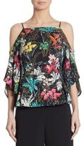 Peter Pilotto Floral-Print Stretch Cold Shoulder Top