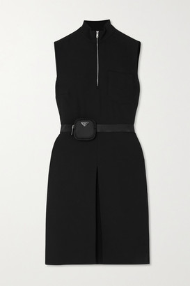 Prada Belted Embellished Twill Mini Dress - Black