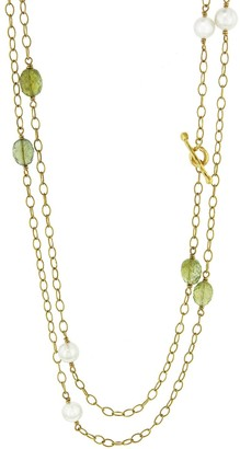 Cathy Waterman Peridot and Pearl Wire Wrap Yellow Gold Necklace