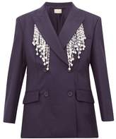 Christopher Kane Faux Pearl-fringed Double-breasted Wool Blazer - Womens - Navy
