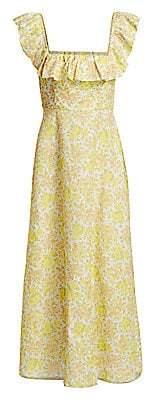 Zimmermann Women's Goldie Ruffled Floral Linen Maxi Dress