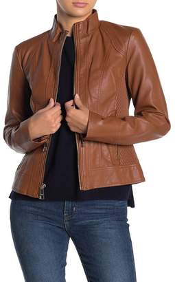 GUESS Faux Leather Stand Collar Jacket
