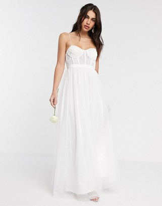 Asos EDITION Louisa lace corset wedding dress with mesh skirt