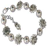 HisJewelsCreationsTM Swarovski Crystal Rhinestone Flower and Pearl Link Bridal Bracelet