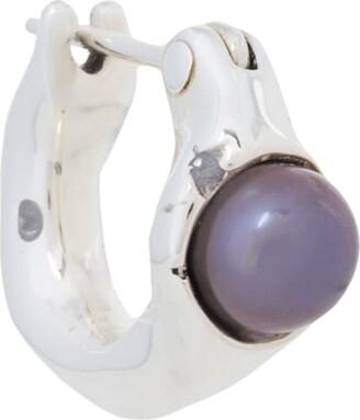 E.m. Single Pearl Hoop Earring
