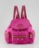 Tory Burch Stacked Nylon Logo Backpack, Party Fuchsia