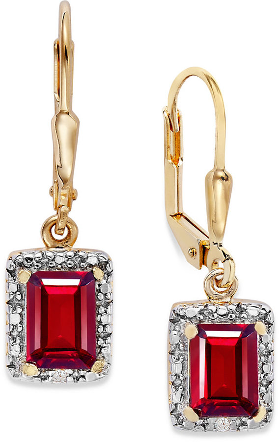 Townsend Victoria 18k Gold over Sterling Silver Garnet (2-3/8 ct. t.w.) and Diamond Accent Rectangle Drop Earrings