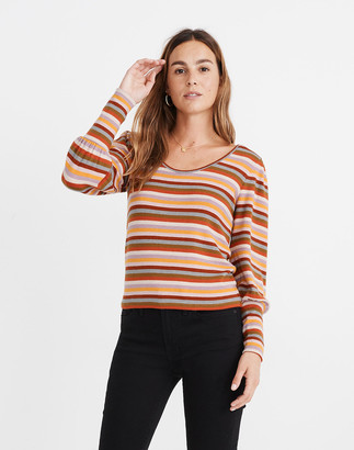 Madewell Striped Puff-Sleeve Scoopneck Top