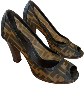 Fendi FFreedom Brown Plastic Heels