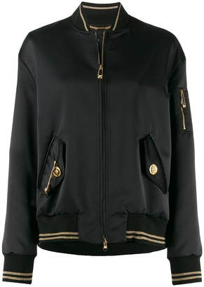 Versace safety pin detail bomber jacket