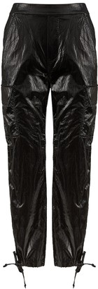 Good American Black PVC cargo trousers