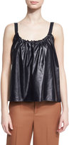 Helmut Lang Smocked Leather Camisole, Navy