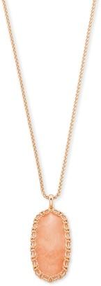Kendra Scott Macrame Reid Rose Gold Long Pendant Necklace In Blush Wood