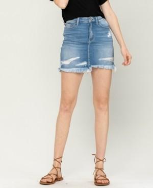 VERVET Women's Distressed Raw Hem Mini Denim Skirt