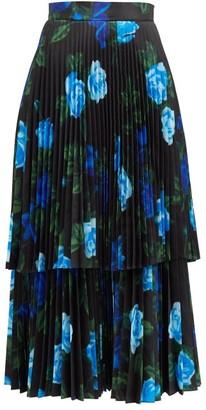 Richard Quinn Tiered Floral-print Satin Midi Skirt - Blue Print