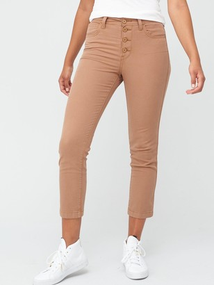 Levi's 724 High Rise Straight Crop Utility Jeans - Beige