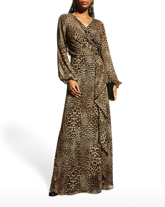 Rickie Freeman For Teri Jon Animal-Print Chiffon Side-Drape Gown