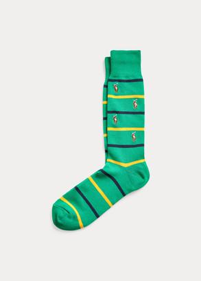 Ralph Lauren Striped Pony Crew Socks