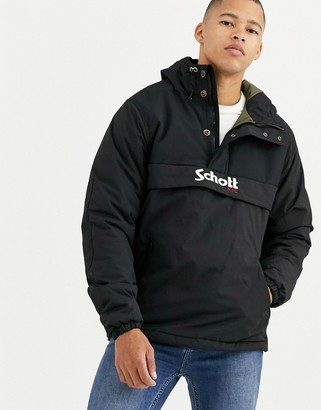 Schott Husky 18 insulated hooded overhead jacket slim fit in black