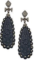 Divya Diamond Black Floral Diamond Drop Earrings