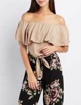 Charlotte Russe Ruffle-Trim Off-The-Shoulder Crop Top