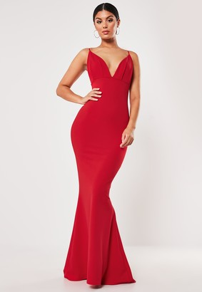 Missguided Red Pleated Bust Fishtail Maxi Dress