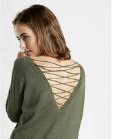 Express lace-up back circle hem sweater