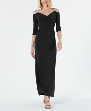 R & M Richards Embellished Cold-Shoulder Gown
