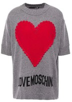 Love Moschino Crochet-appliqued Intarsia-knit Top