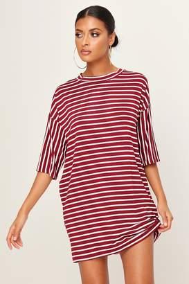 I SAW IT FIRST Burgundy Stripe T-Shirt Dress