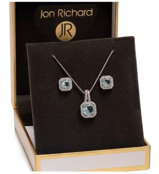 Jon Richard Jewellery Jon Richard Rhodium Plated Aqua Blue Crystal Square Drop Set - Gift Boxed