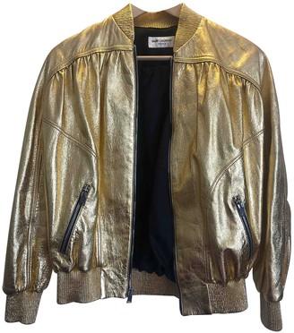 Saint Laurent Gold Leather Jacket for Women