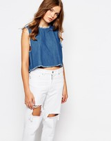 WÅVEN Tini Denim Crop Top