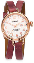 Rosegold Shinola Birdy Rose Goldtone PVD Stainless Steel & Leather Double-Wrap Watch
