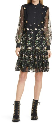 Tory Burch Tulle Embroidered Long Sleeve Tunic Dress