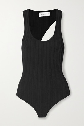 The Line By K Isaura Open-back Ribbed-knit Bodysuit - Black