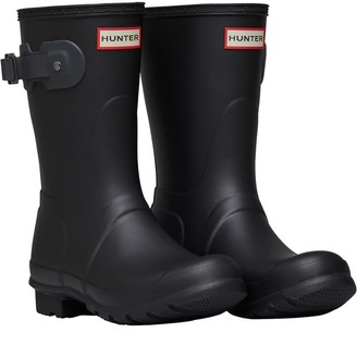 Hunter Womens Short Wellington Boots Black/Dark Slate