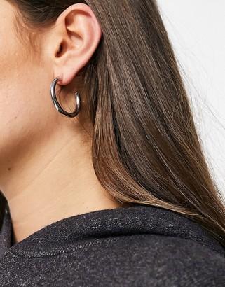 NY:LON tube hoop earrings in silver